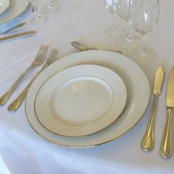 Assiette Plate ronde à dessert liseré or 19 cm